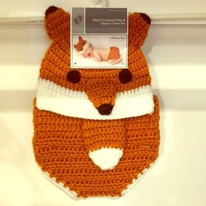 Fox hat and diaper cover set